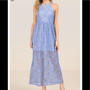 Francesca's Lace halter maxi dress